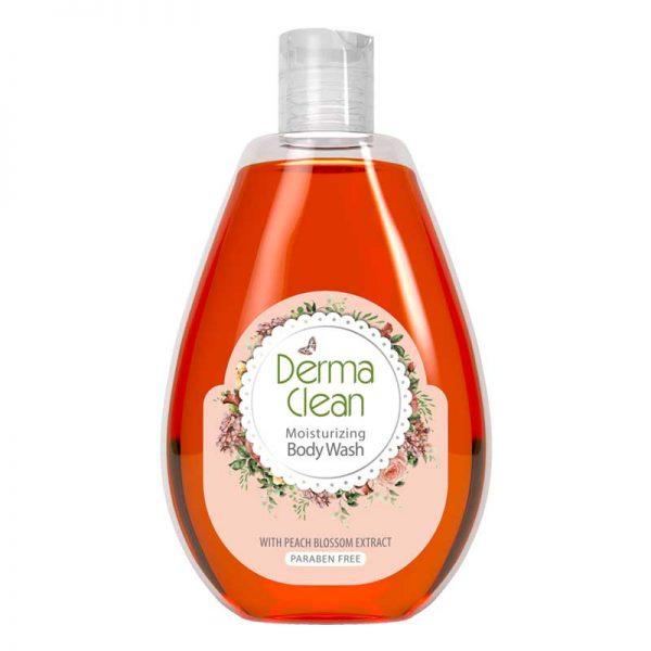 شامپو بدن مرطوبکننده و نرمکننده درماکلین حاوی عصاره شکوفه هلو