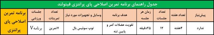 جدول برنامه اصلاحی زانوی پرانتزی