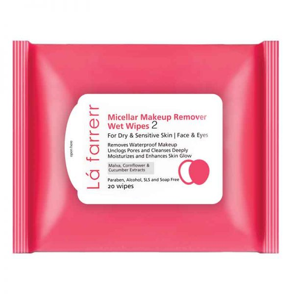 دستمال مرطوب آرایش پاک کن لافارر مخصوص پوستهای خشک و حساس ۲۰ برگی